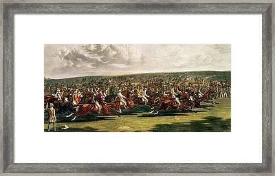 The Start Of The Memorable Derby Of 1844 Framed Print