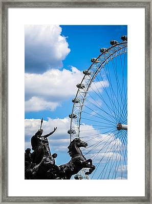 The Statue Of Boadicea Standing In Front Of The London Eye In England Framed Print