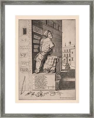 The Statue Pasquino, Standing On A Pedestal In The Piazza Framed Print by Antonio Lafreri