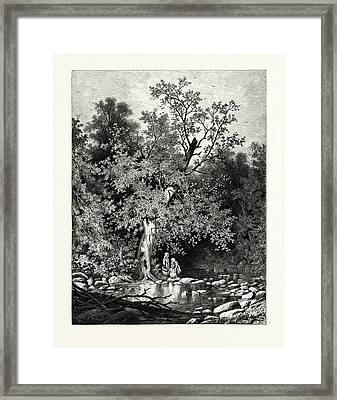 The Stepping-stones Framed Print by Bunner, Andrew Fisher (1841-1897), American