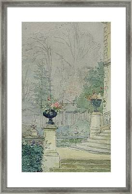 The Steps Of Les Fourneaux At Melun Framed Print by Henri Rouart