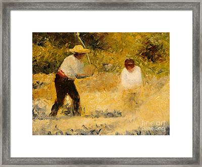 The Stone Heap Framed Print by Georges Pierre Seurat