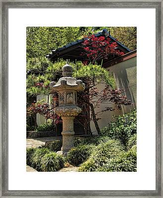 The Stone Lantern Framed Print by Peter Dang