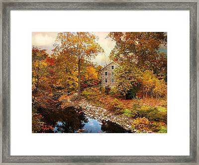 The Stone Mill In Autumn Framed Print by Jessica Jenney