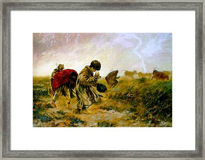 Framed Print featuring the painting The Storm by Henryk Gorecki