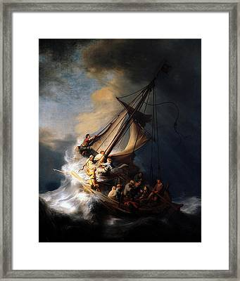 Framed Print featuring the digital art The Storm On The Sea Of Galilee by Rembrandt