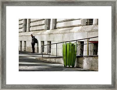The Story Of Him Waiting And A Green Trashcan Framed Print by Joanna Madloch