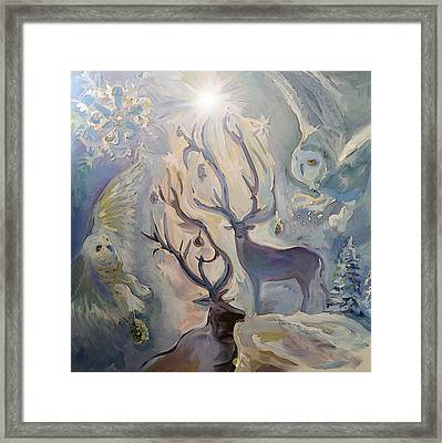 The Story Of The Owl And Deer Framed Print by Janet Oh