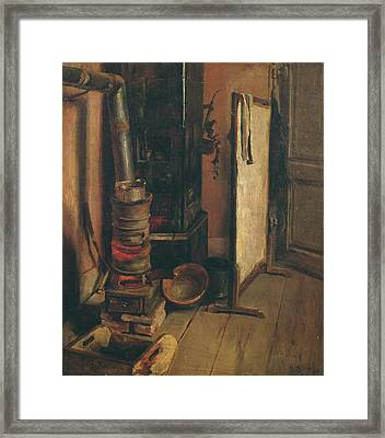 The Stove Oil On Canvas Framed Print by Ferdinand Victor Eugene Delacroix