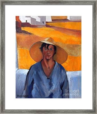 The Straw Hat - After Nikolaos Lytras Framed Print by Kostas Koutsoukanidis