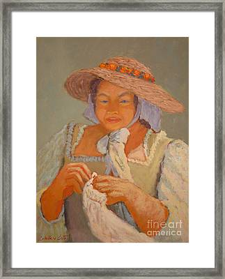 The Straw Hat Framed Print by Monica Caballero