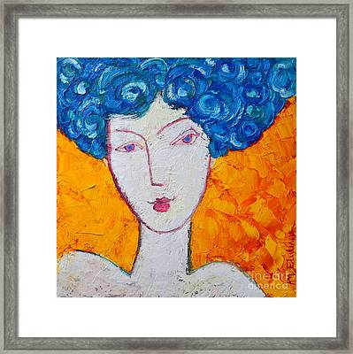 The Strength Of Grace Expressionist Girl Portrait Framed Print by Ana Maria Edulescu