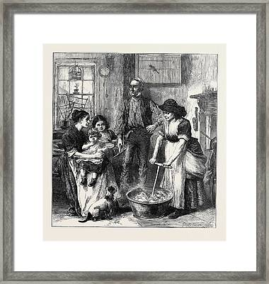 The Strike In South Wales Interior Of A Colliers Cottage Framed Print