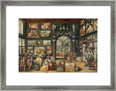 The Studio Of Apelles Oil On Panel Framed Print by Willem van II Haecht