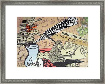 Framed Print featuring the drawing The Studious Rabbit And The Monkey by Eloise Schneider