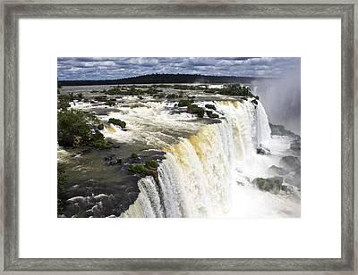 The Stunning Falls Of Iguacu Brazil Side Framed Print