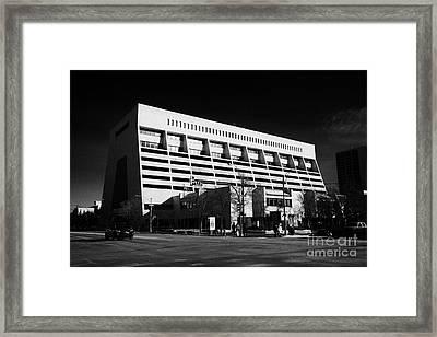 the sturdy stone centre Saskatoon Saskatchewan Canada Framed Print by Joe Fox