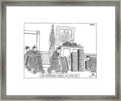 The Subpoenaed Diaries Of An�s Nin Framed Print by Jack Ziegler