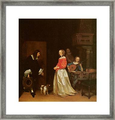 The Suitor's Visit Framed Print by Gerard Terborch