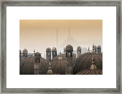 The Suleymaniye Mosque And New Mosque In The Backround Framed Print by Ayhan Altun