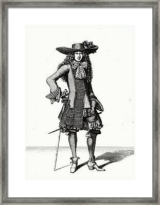 The Summer Sword Dress, 1675 Etching Bw Print Framed Print by Bonnart