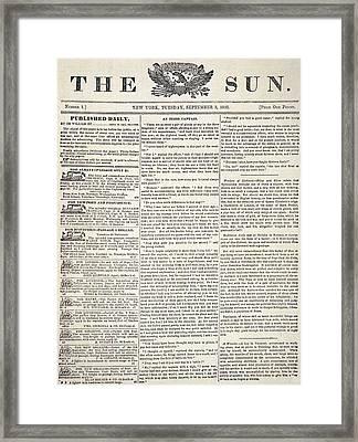 The Sun, 1833 Framed Print