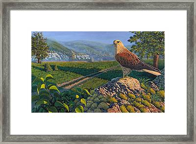 The Sun Behind The Hill Framed Print