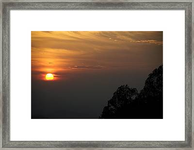 The Sun Behind The Trees Framed Print