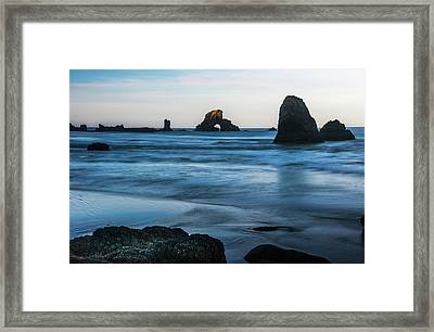 The Sun Comes Up On Sea Stacks  Cannon Framed Print