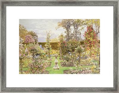 The Sun Dial In The Rose Garden Framed Print by Thomas H Hunn