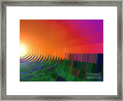 Framed Print featuring the painting The Sun Drops Into The Horizon by Pet Serrano