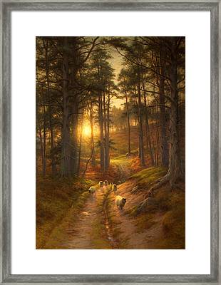 The Sun Fast Sinks In The West Framed Print by Joseph Farquharson