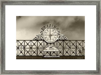 The Sun Orioles Clock - Sepia Framed Print by Brian Wallace