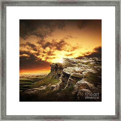 Framed Print featuring the photograph The Sun Over Mountains by Boon Mee