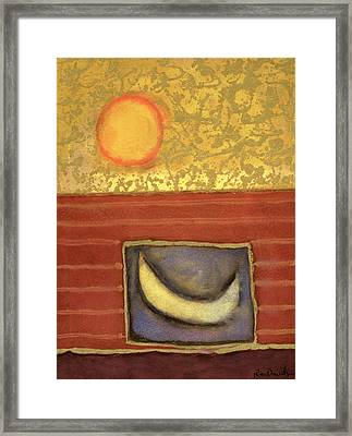 The Sun Rises While The Moon Sleeps, 1990 Mixed Media On Paper Framed Print