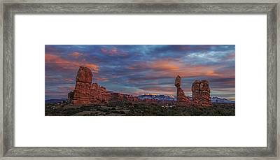 The Sun Sets At Balanced Rock Framed Print
