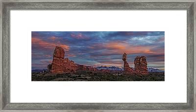 The Sun Sets At Balanced Rock Framed Print by Roman Kurywczak