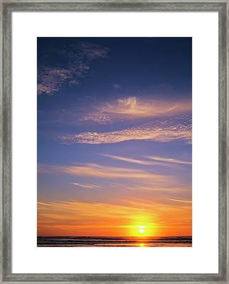 The Sun Sets At Umpqua Beach Framed Print
