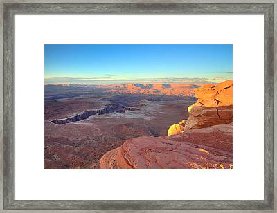The Sun Sets On Canyonlands National Park In Utah Framed Print by Alan Vance Ley