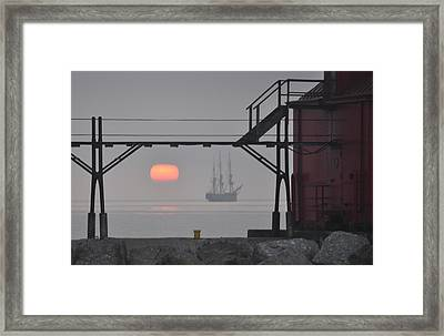 The Sunrises On A Tall Ship In Door County Framed Print