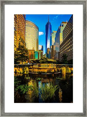 The Sunset Colors Of Battery Park City Framed Print by Chris Lord