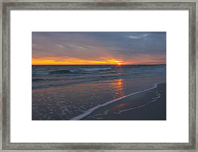 The Sunset Kissing The Waves Framed Print