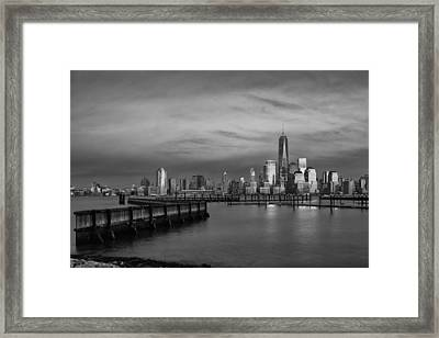 The Sunsets At One World Trade Center Bw Framed Print by Susan Candelario