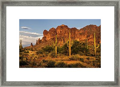 The Superstitions At Sunset  Framed Print
