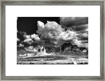 The Superstitions - Black And White  Framed Print