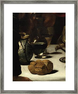 The Supper At Emmaus, 1601 Oil And Tempera On Canvas Detail Of 928 Framed Print by Michelangelo Merisi da Caravaggio