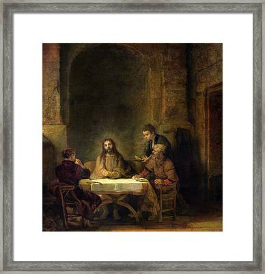 The Supper At Emmaus, 1648 Oil On Panel Framed Print by Rembrandt Harmensz van Rijn