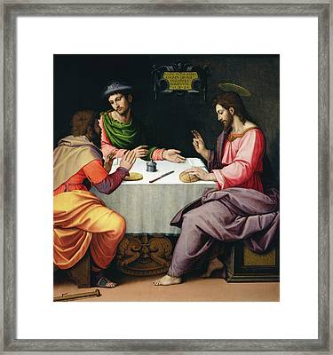 The Supper At Emmaus, C.1520 Oil On Canvas Framed Print