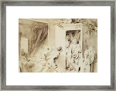 The Surprised Lover Framed Print by Jean-Honore Fragonard