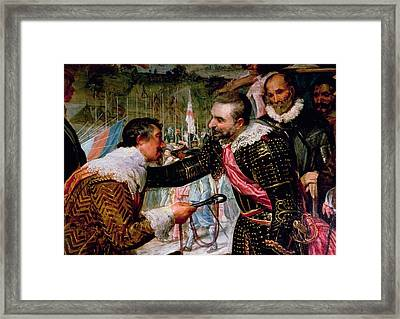 The Surrender Of Breda 1625, Detail Of Justin De Nassau Handing The Keys Over To Ambroise Spinola Framed Print by Diego Rodriguez de Silva y Velazquez